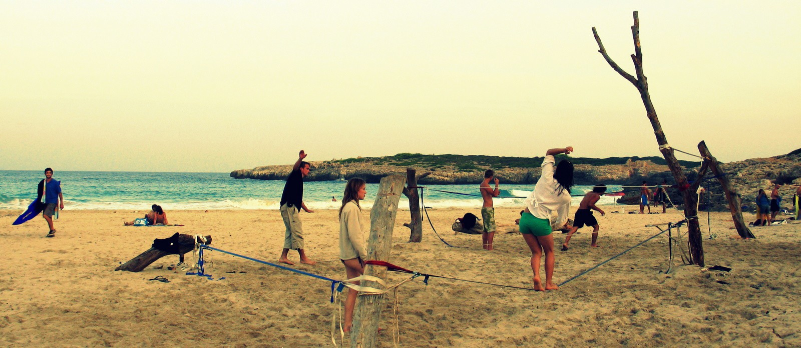 slacklining at a beach in Mallorca